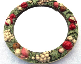 """Barbola Mirror, English Antique Circa 1920, Bevelled Glass, Wooden Back, 8.25"""" x 1"""", Red, Pink, Ivory Fruit Forms, Green Leaves,"""