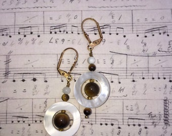 Tiger Eye and Mother of Pearl Satellite Earrings