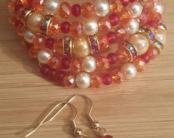 Orange and Red Glass Two Piece Set