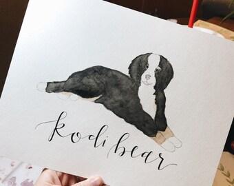Watercolor Dog or Animal Portrait-Pet Portrait Watercolor
