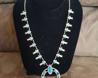 Vintage Navajo Sterling Silver & Turquoise Squash Blossom Necklace by Sherman