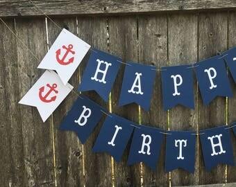 Nautical birthday banner. Anchor birthday banner. Sail boat birthday. Nautical birthday decor.