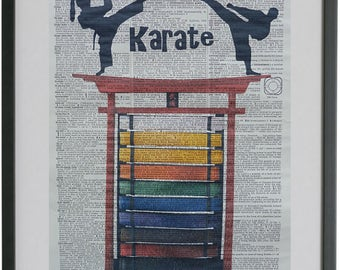 Karate belt display etsy for Decoration chambre karate