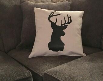 Deer Pillow Cover - Deer Bust -Deer Head Pillow- Woodland, Rustic Decor - Cabin, Lodge Pillow - Antlers - Hunter Pillow - Outdoorsman Pillow