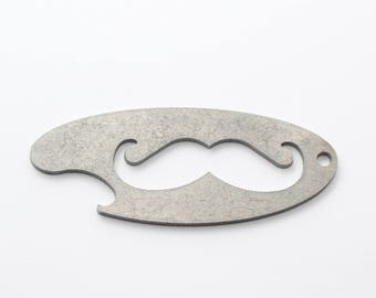Mustache Bottle Opener Keychain - Hipster Bar Gear