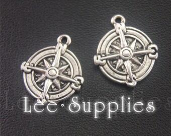 30pcs Antique Silver Compass Charms Pendant A2005