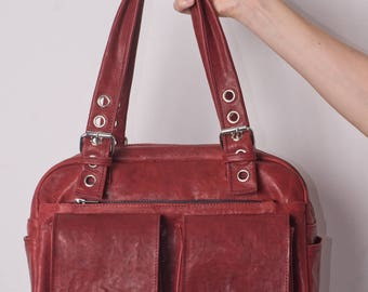Red buffalo leather bag