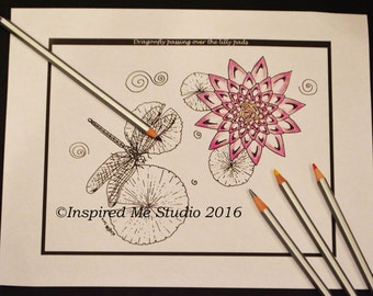 Dragonfly And Water Lily, Single Digital Coloring Page