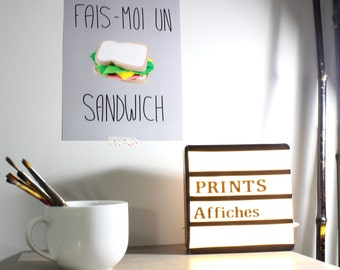 Fais-moi un sandwich print, wall print, foodie art print, food lover, wall art, print poster, typography, inspirational quotes,