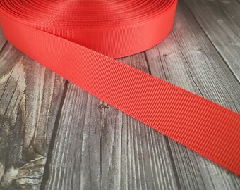 "Solid Coral Grosgrain - 7/8"" Grosgrain ribbon - 5 yards - Solid craft ribbon - DIY hair bow - DIY headband - Wedding ribbon - Coral wedding"