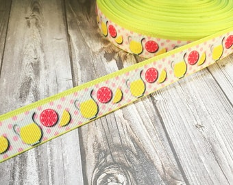"Lemonade ribbon - Summer ribbon - 7/8"" Grosgrain ribbon - Pink lemonade - Drink ribbon - Food and drink crafts - Lemonade crafts - DIY bows"