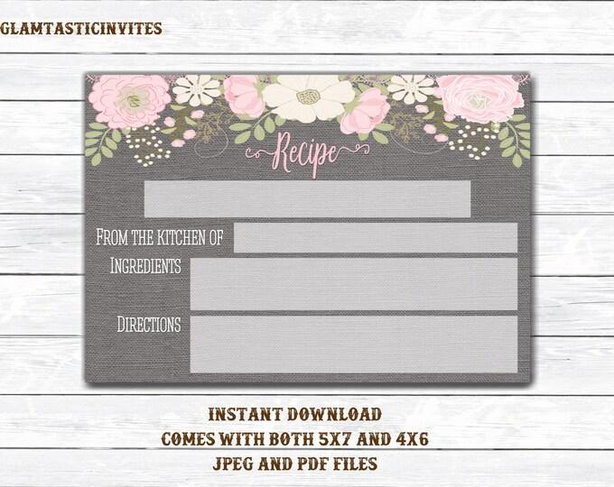 Recipe Card, Floral Recipe Card, Bridal Shower Recipe Card, Housewarming Recipe Card, Peony Recipe Card, Grey Recipe Card, Rustic RecipeCard