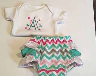 Embroidered Onsie and Ruffled Diaper Cover