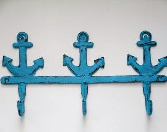 Cast Iron Hook/Anchor Hook/Cast Iron Wall Hooks/Nautical Style Hook/Beach Home Decor/Bathroom Hook/Towel Hook