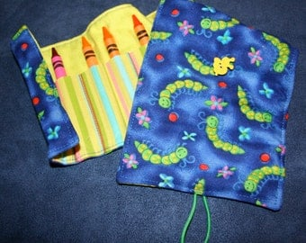 Happy Caterpillars on Blue Crayon Tote