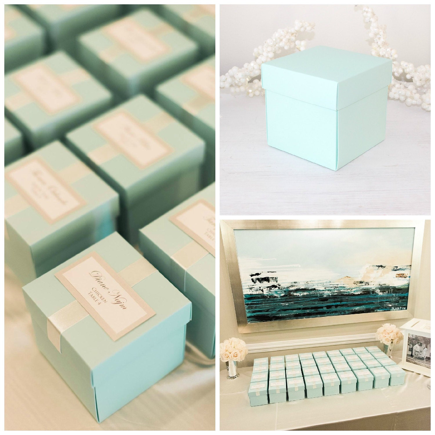 Large Cupcake Boxes, Turquoise Blue Favor Boxes, Wedding Favor Boxes ...