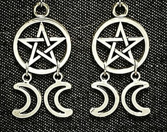 TRIPLE MOON GODDESS, crescent moon earrings, wiccan earrings, pagan, witchy jewelry, esoteric, occult, gothic, goth, pentacle, magic jewelry