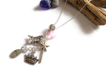 """Sleeping Beauty themed 20"""" silver charm necklace princess party bag favours aurora jewelery gift favors dream is a wish gift"""