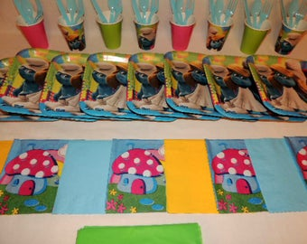 49 Piece Smurfs Place setting for 8 Table Decorations Party Supplies