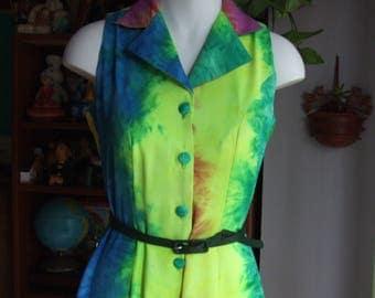 Vintage 1960s Romper. Fits S. Tye Dyed Print. Great Color. Wide Leg. Jumpsuit, Playsuit.