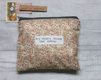 It's Whats Inside That Counts - Coated Cotton Paisley Zip Pouch | Purse
