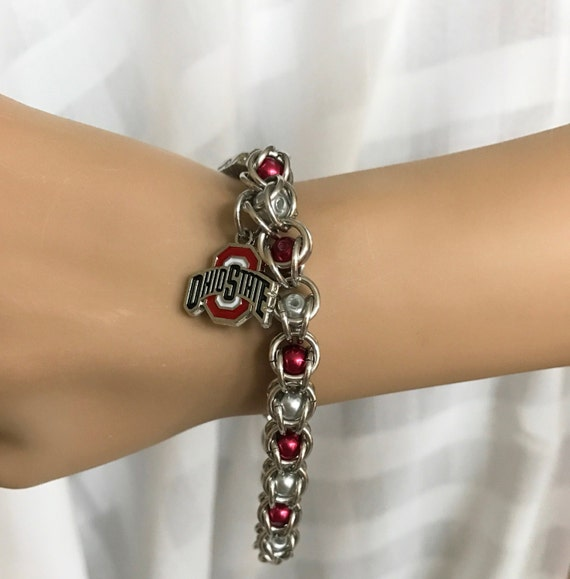Ohio State Buckeyes Logo Chain Maille Bracelet. Bright Silver Aluminum ChainMaille. Captured Red and Gray Pearls. ChainMail. Chain Mail.