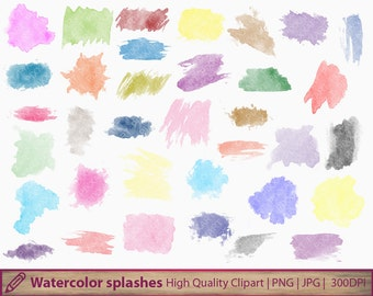 Watercolor splatters, paint stains clip art,  water colour clipart, commercial use, scrapbooking, digital instant download, jpg png 300dpi