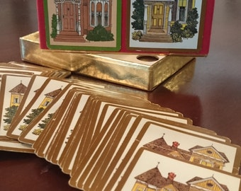Vintage Bridge Playing Cards/ Victorian House Design Cards