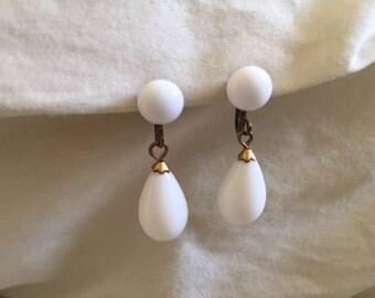 Vintage Pair White Glass Bead Drop Earrings