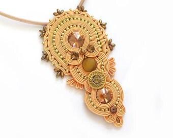 Orange necklace soutache peach OOAK statement necklace Soutache stone agate pendant gift for her Halskette luxury necklace