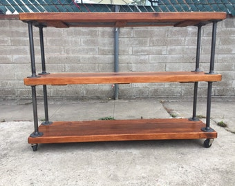Rolling industrial pipe shelf in antique walnut 45 x11.5 x30tall total