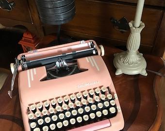 Vintage Pink Smith Corona Silent Super Typewriter Portable Manual Retro