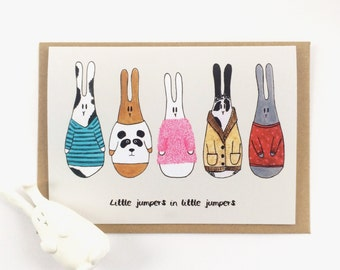 Little jumpers in little jumpers - cute bunnies in sweaters Christmas card. Sweather weather kawaii bunnies in jumpers, christmas jumper