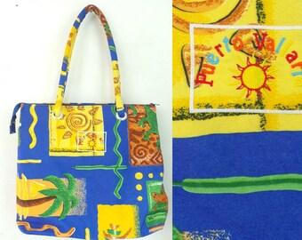 Vintage Puerto Vallarta Colorful Tribal Print Purse, Bright Colors, Tribal Purse, Beach Bag, Summer Purse, Sun, Tropical, Palm Trees, Bag