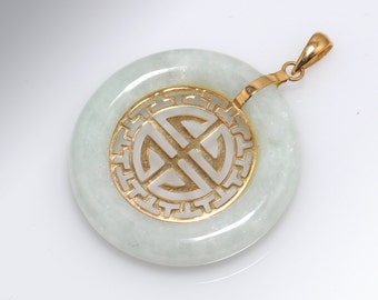 Jade and 14K Yellow Gold Lotus Pendant