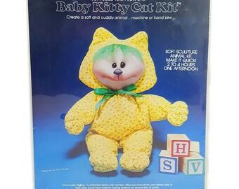 "Vintage Valiant Crafts Soft Sculpture Animal Kit ""Baby Kitty Cat"" Kit No 1803"