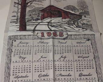 Fabric Calendar - made from linen - 1965, 1967, 1968
