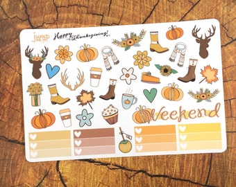 Fall Grace stickers -for use with Erin Condren Happy Planner stickers -autumn september october november woods fall leaves