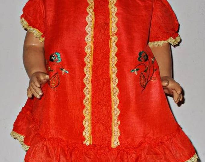 "Vintage 30s 40s Handmade Bright Orange Embroidered Floral Leaf Lace Silk Doll Dress Fits 24"" Shirley Temple Composition Doll"