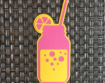 Premade Lemonade/Drink Die Cut. Scrapbook Embellishment. Premade Diecuts. Paper Pieces. Paper Piecing Summer Embellishments. Gift Tag. Party