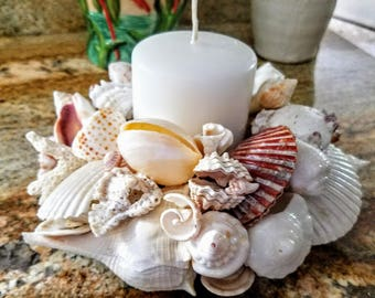 Deluxe Seashell Blossom Candle Centerpiece 3 Tiered