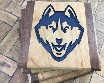 Uconn Drink Coasters Cherry and Walnut - Set of 4