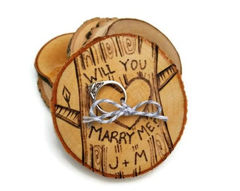 custom proposal ring holder, will you marry me, marry me holder, engagement ring holder, rustic ring holder, wood ring holder, gift for her