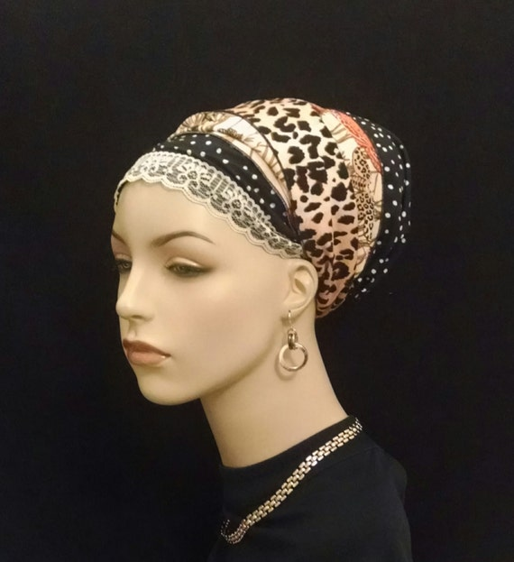 Silky dots and animal prints, sinar tichels, apron tichels, mitpachat, chemo scarves, Head wraps