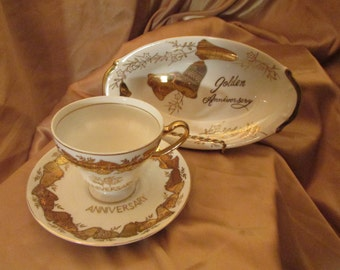VTG set 3 Pieces Oval flat Cup and saucer VINTAGE Cup And Saucer 50th Anniversary VTG 3 piece With Gold Bell For 50 th Anniversary