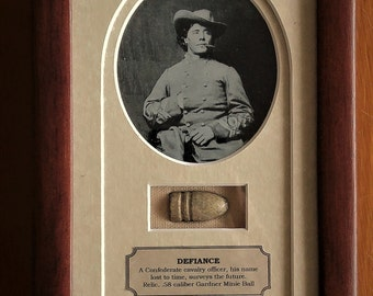 Defiance: Civil War Confederate Soldier and removable Gardner Minie Ball Relic