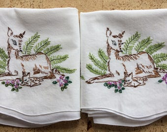 Embroidered Pillow Cases With Deer