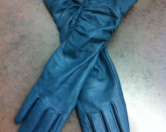 Vintage Womens Gloves - Blue Leather - Mid Forearm Length - Gift for Her