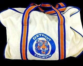 80s Detroit Tigers Baseball Duffel Bag, Cream White Duffle Travel Bag, Overnight Weekender Bag