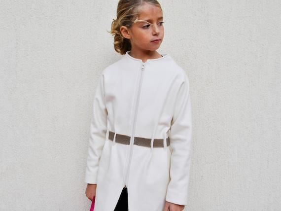 Girls white coat Belt wool coat Kids zip coat Winter belted